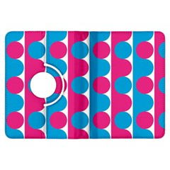 Pink And Bluedots Pattern Kindle Fire Hdx Flip 360 Case