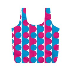 Pink And Bluedots Pattern Full Print Recycle Bags (m)