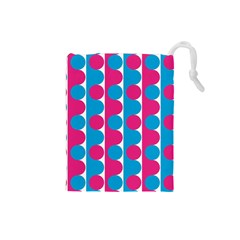 Pink And Bluedots Pattern Drawstring Pouches (small)