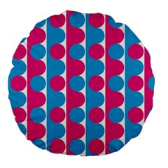 Pink And Bluedots Pattern Large 18  Premium Flano Round Cushions