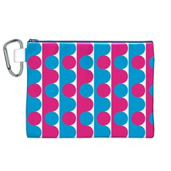 Pink And Bluedots Pattern Canvas Cosmetic Bag (xl)
