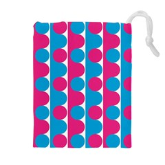 Pink And Bluedots Pattern Drawstring Pouches (extra Large)