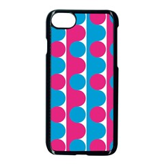 Pink And Bluedots Pattern Apple Iphone 7 Seamless Case (black)