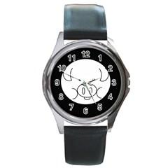 Pig Logo Round Metal Watch