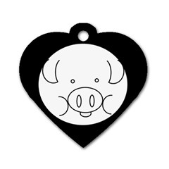 Pig Logo Dog Tag Heart (two Sides)