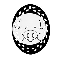 Pig Logo Oval Filigree Ornament (two Sides)