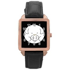 Pig Logo Rose Gold Leather Watch