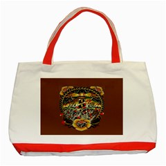 Tattoo Art Print Traditional Artwork Lighthouse Wave Classic Tote Bag (red)