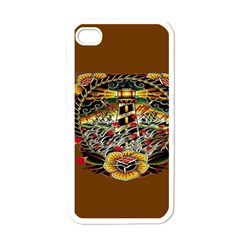 Tattoo Art Print Traditional Artwork Lighthouse Wave Apple Iphone 4 Case (white)