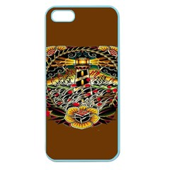Tattoo Art Print Traditional Artwork Lighthouse Wave Apple Seamless Iphone 5 Case (color)
