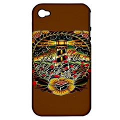 Tattoo Art Print Traditional Artwork Lighthouse Wave Apple Iphone 4/4s Hardshell Case (pc+silicone)