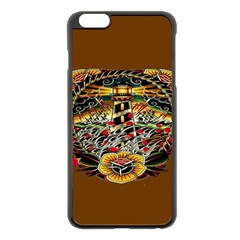 Tattoo Art Print Traditional Artwork Lighthouse Wave Apple Iphone 6 Plus/6s Plus Black Enamel Case