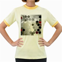 Honeycomb Pattern Women s Fitted Ringer T Shirts