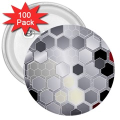 Honeycomb Pattern 3  Buttons (100 Pack)
