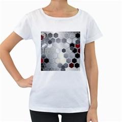 Honeycomb Pattern Women s Loose Fit T Shirt (white)