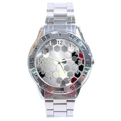 Honeycomb Pattern Stainless Steel Analogue Watch