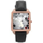 Honeycomb Pattern Rose Gold Leather Watch  Front
