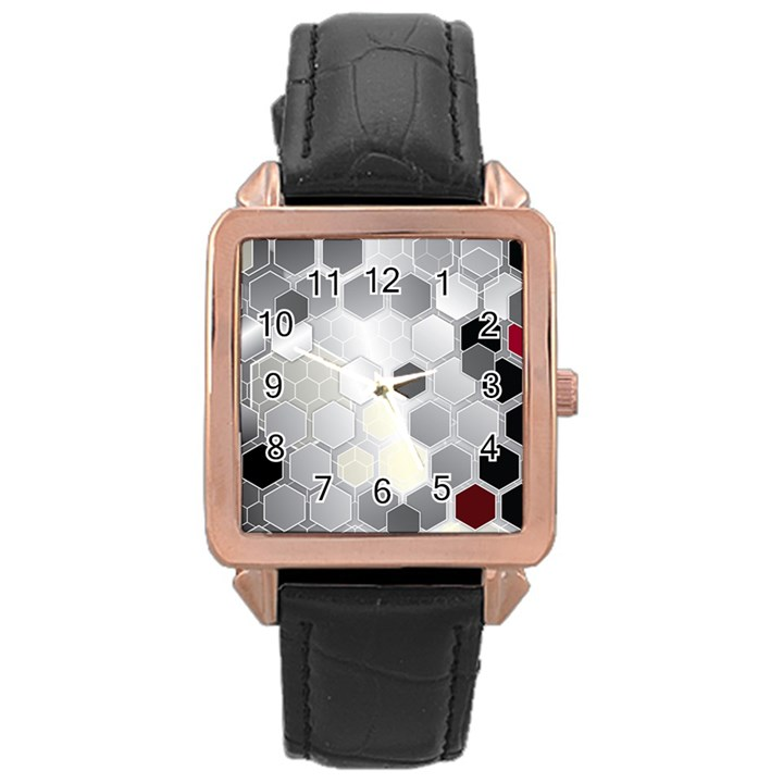 Honeycomb Pattern Rose Gold Leather Watch