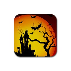 Halloween Night Terrors Rubber Square Coaster (4 Pack)