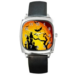 Halloween Night Terrors Square Metal Watch