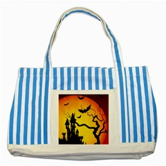 Halloween Night Terrors Striped Blue Tote Bag