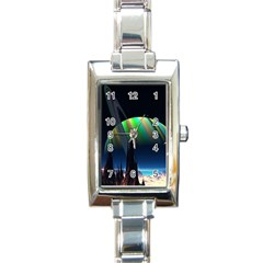 Planets In Space Stars Rectangle Italian Charm Watch