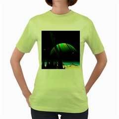 Planets In Space Stars Women s Green T Shirt