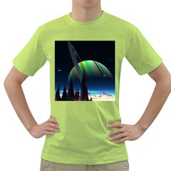 Planets In Space Stars Green T Shirt
