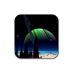 Planets In Space Stars Rubber Square Coaster (4 Pack)