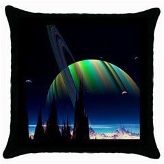 Planets In Space Stars Throw Pillow Case (black)
