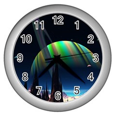 Planets In Space Stars Wall Clocks (silver)