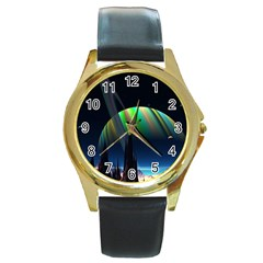 Planets In Space Stars Round Gold Metal Watch