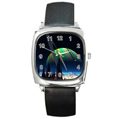 Planets In Space Stars Square Metal Watch