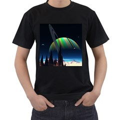 Planets In Space Stars Men s T Shirt (black) (two Sided)