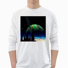 Planets In Space Stars White Long Sleeve T Shirts