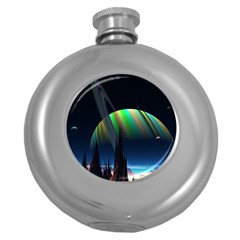 Planets In Space Stars Round Hip Flask (5 Oz)