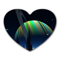 Planets In Space Stars Heart Mousepads