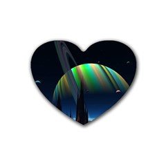 Planets In Space Stars Rubber Coaster (heart)