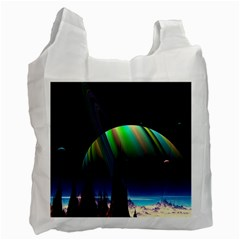 Planets In Space Stars Recycle Bag (two Side)