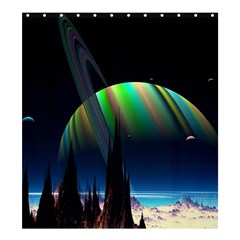 Planets In Space Stars Shower Curtain 66  X 72  (large)