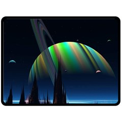 Planets In Space Stars Fleece Blanket (large)