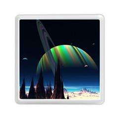 Planets In Space Stars Memory Card Reader (square)