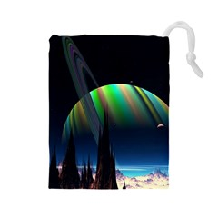Planets In Space Stars Drawstring Pouches (large)