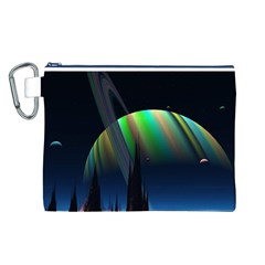 Planets In Space Stars Canvas Cosmetic Bag (l)