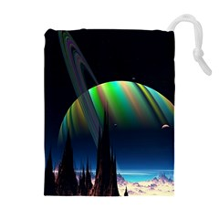 Planets In Space Stars Drawstring Pouches (extra Large)