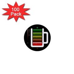 Black Energy Battery Life 1  Mini Buttons (100 Pack)