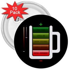 Black Energy Battery Life 3  Buttons (10 Pack)