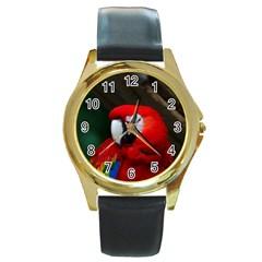 Scarlet Macaw Bird Round Gold Metal Watch