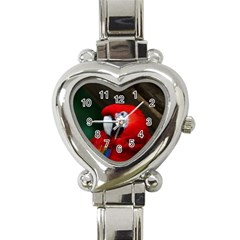 Scarlet Macaw Bird Heart Italian Charm Watch