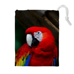 Scarlet Macaw Bird Drawstring Pouches (extra Large)